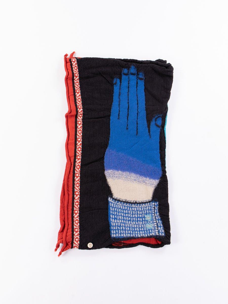 Black Blue Hands Compressed Wool Scarf