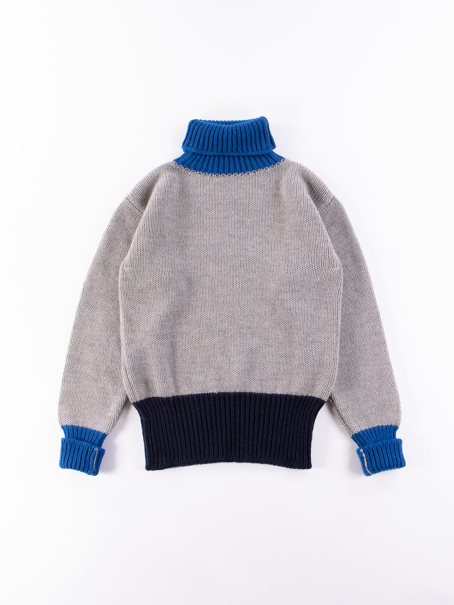 Grey/Navy/Blue George Lowe Roll Neck
