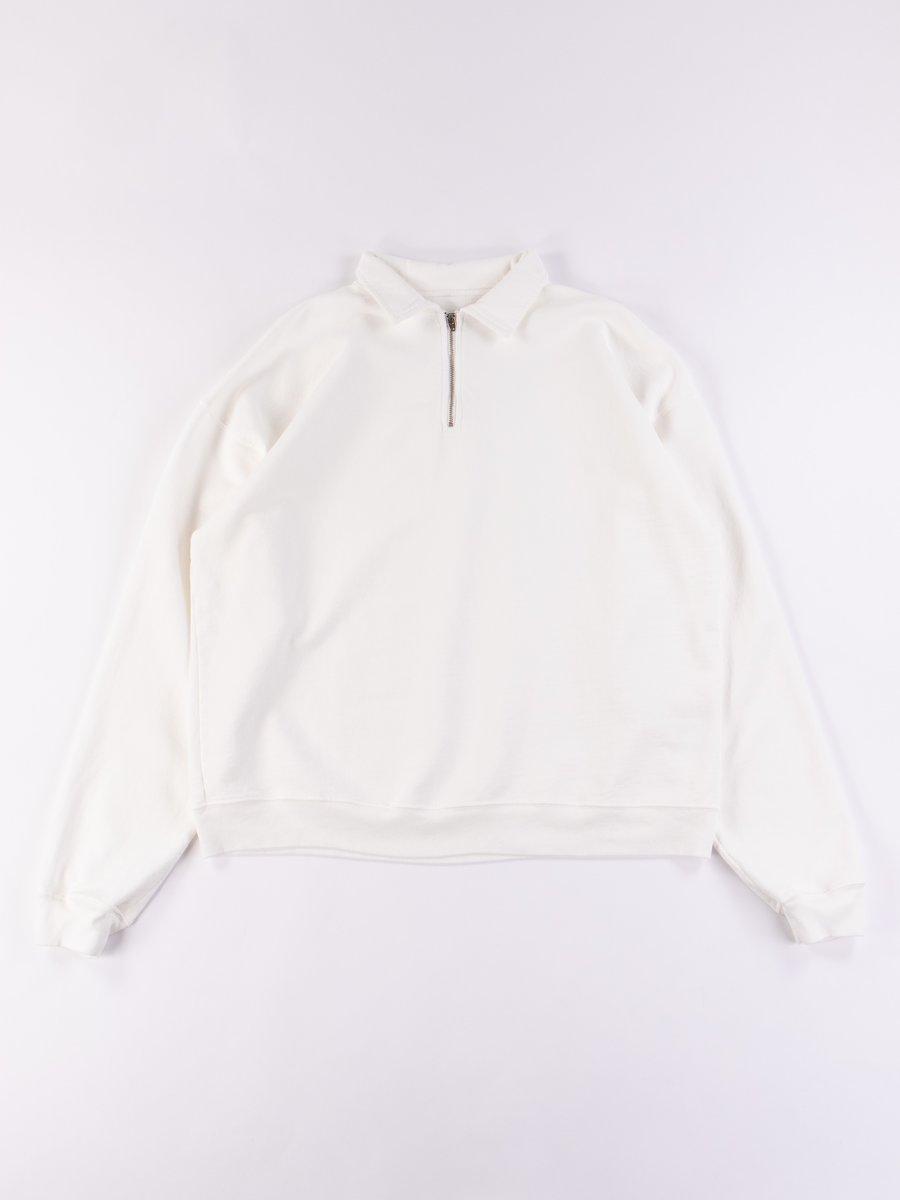 Cream Cropped Half Zip Sweat