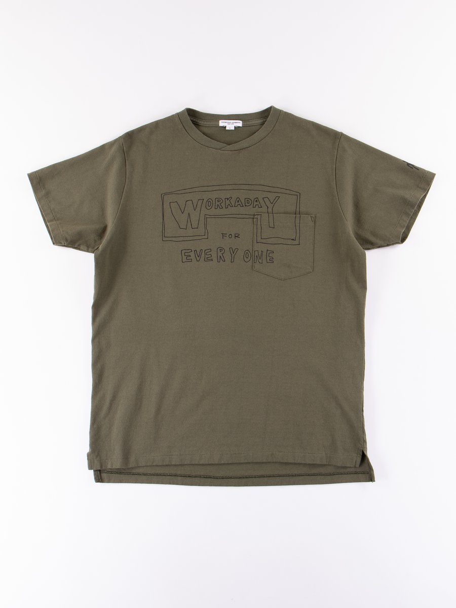 Olive Everyone Crossover Crew Pocket Tee
