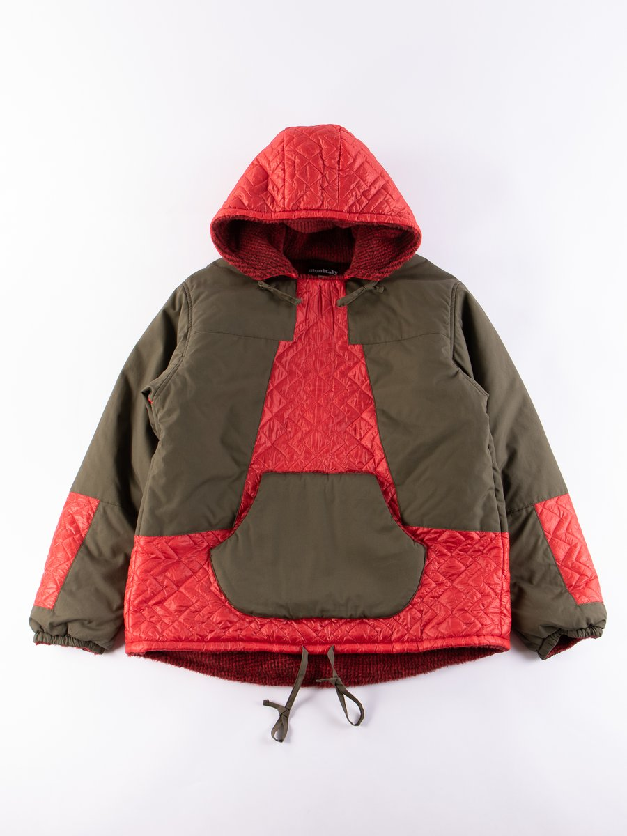 Red/Olive Panelled Hooded Pullover