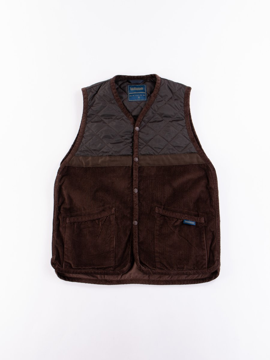 Brown Washed Cord Taped Gilet