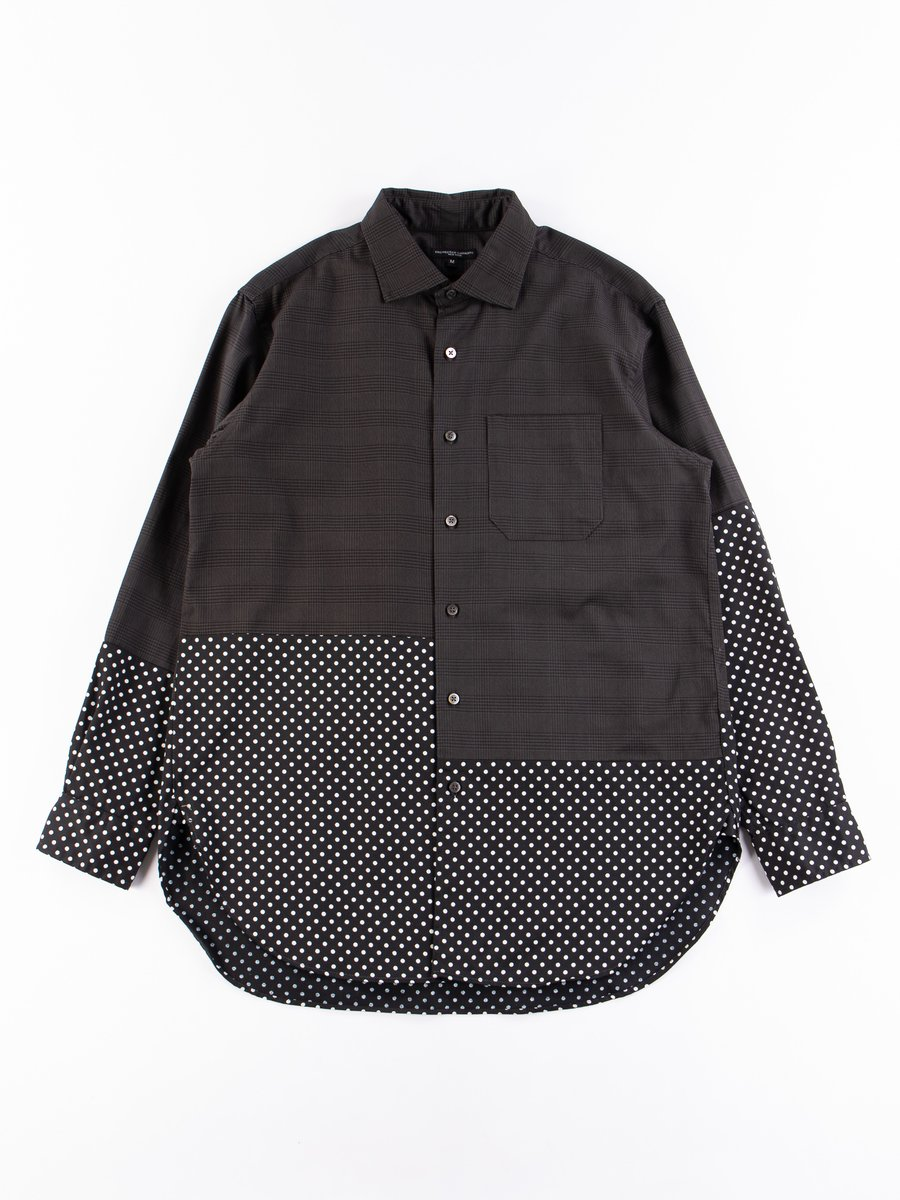 Grey Twill Printed Glen Plaid Spread Collar Shirt