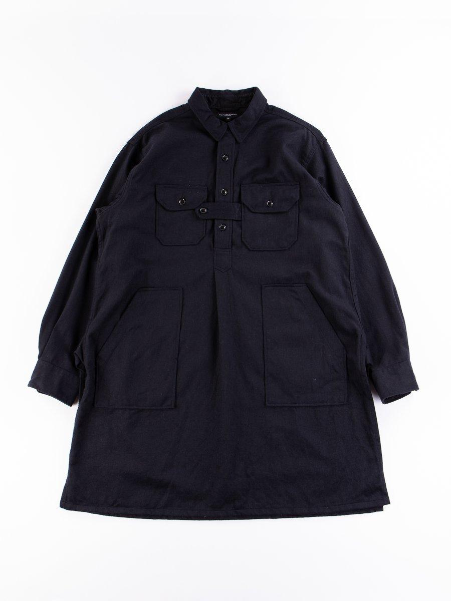 Dark Navy Wool Cotton Flannel Bird Shooter Shirt