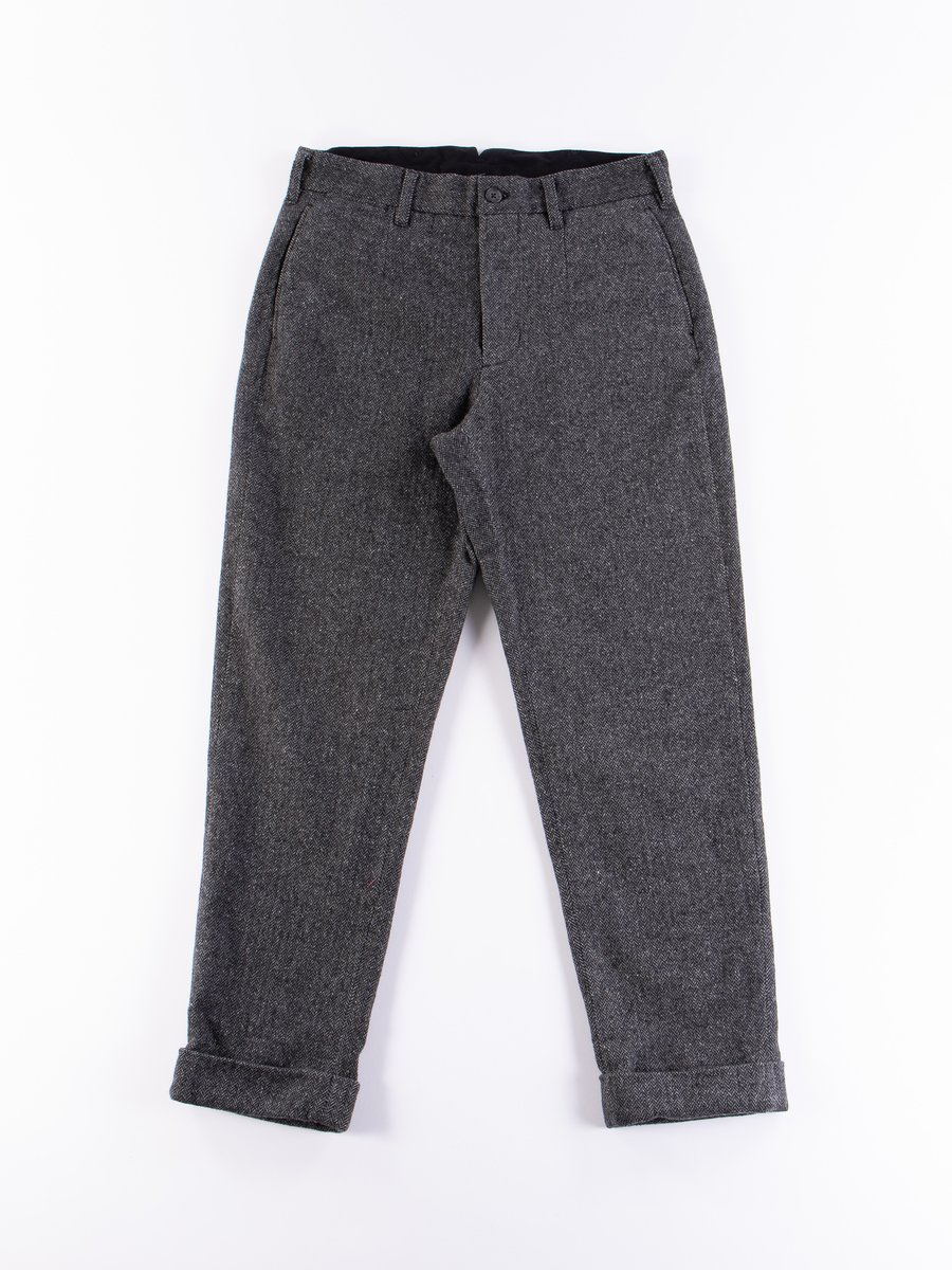 Grey Poly Wool Herringbone Andover Pant