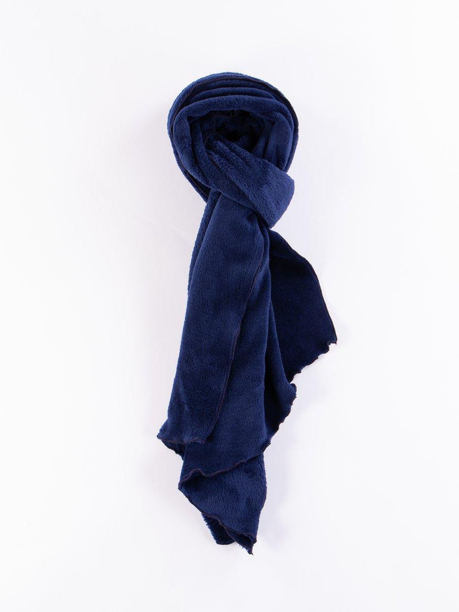 Navy Polyester Shaggy Fleece Long Scarf