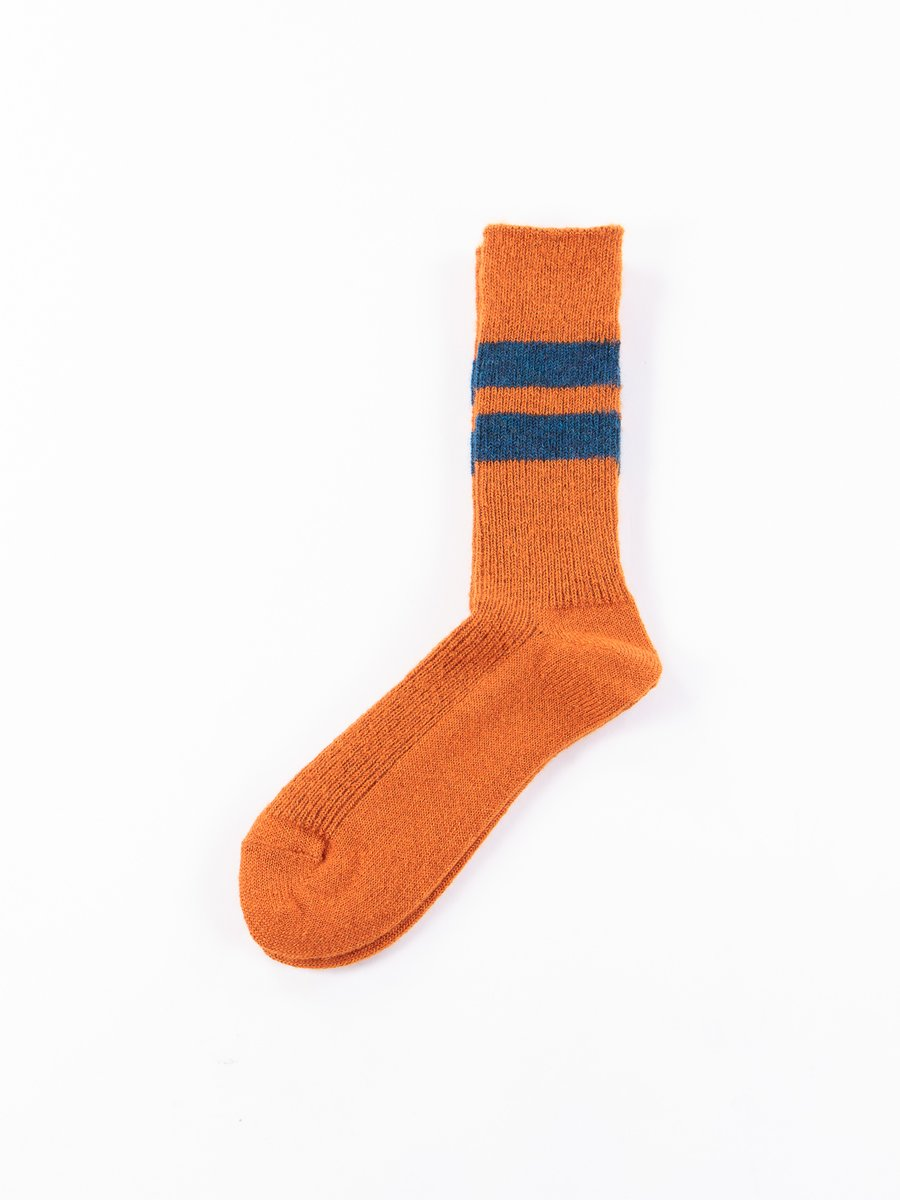 Orange Reversible Brushed Mohair Crew Socks
