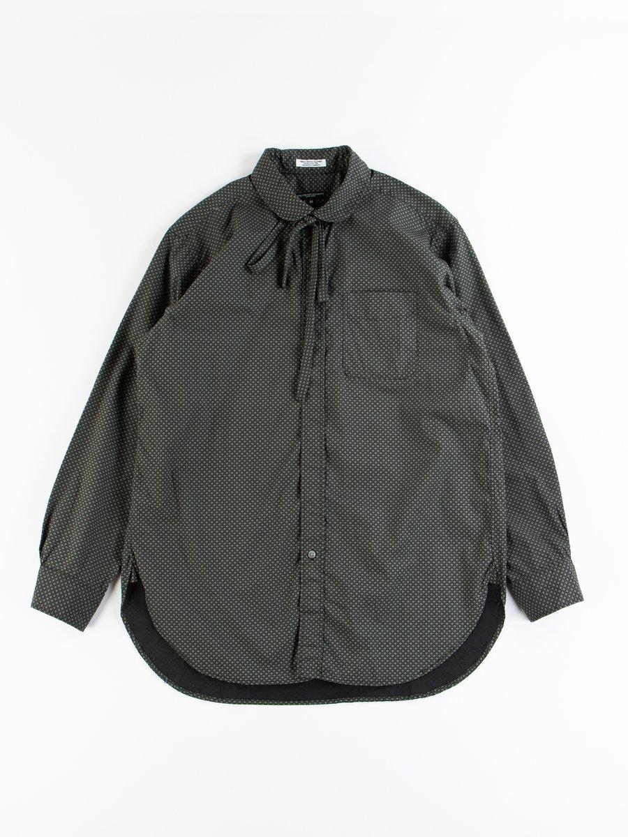 Black Cotton Mini Foulard Rounded Collar Shirt