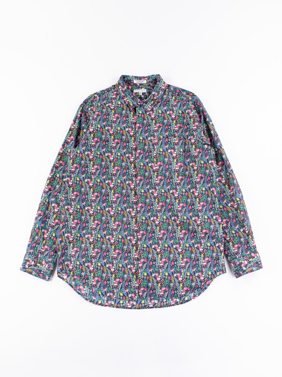 Navy Vertical Floral Print Cotton Short Collar Shirt