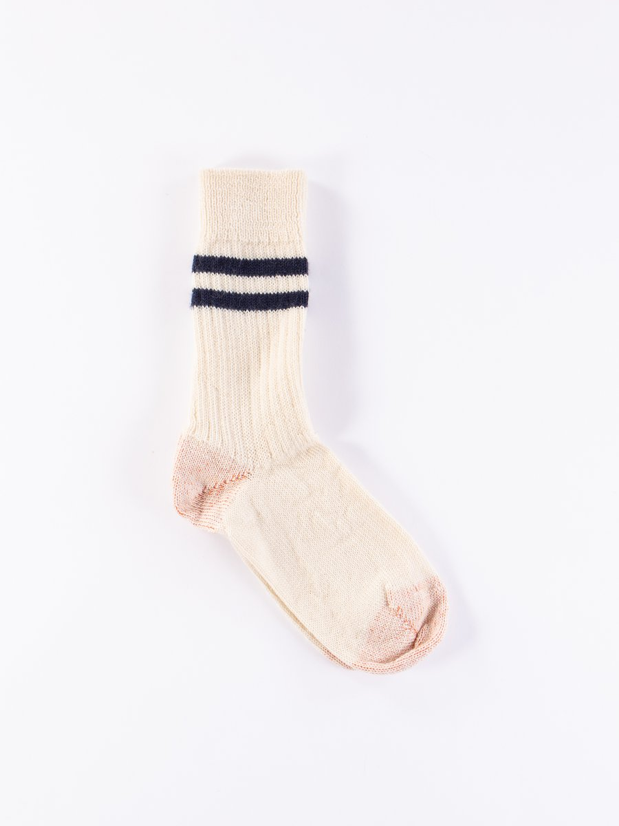 Natural/Ink Blue S75 Wool Striped Sport Sock