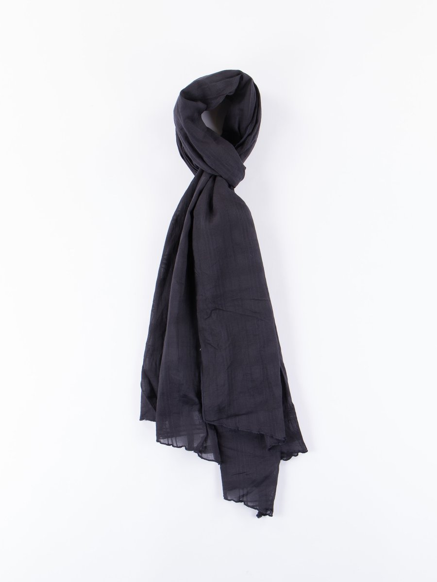 Dark Navy Tone–On–Tone Dobby Check Long Scarf