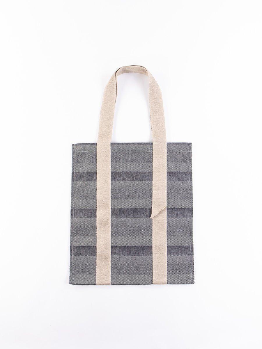 Indigo Weaver's Blanket Stripe One–Strap Tote Bag