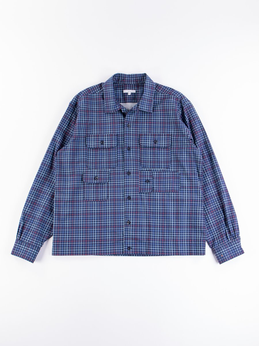Navy Cotton Printed Tattersall Bowling Shirt
