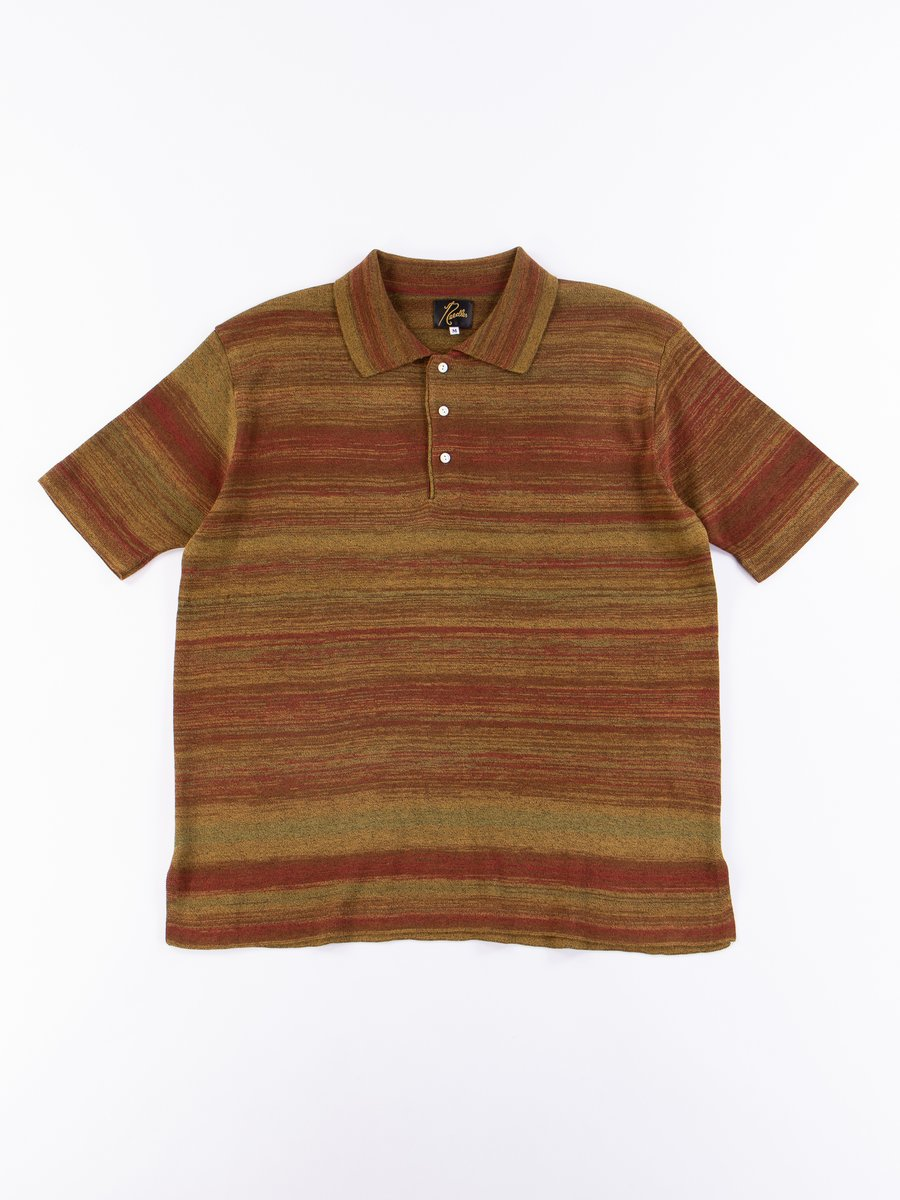 Olive/Brown Splashed Pattern SS Polo Sweater