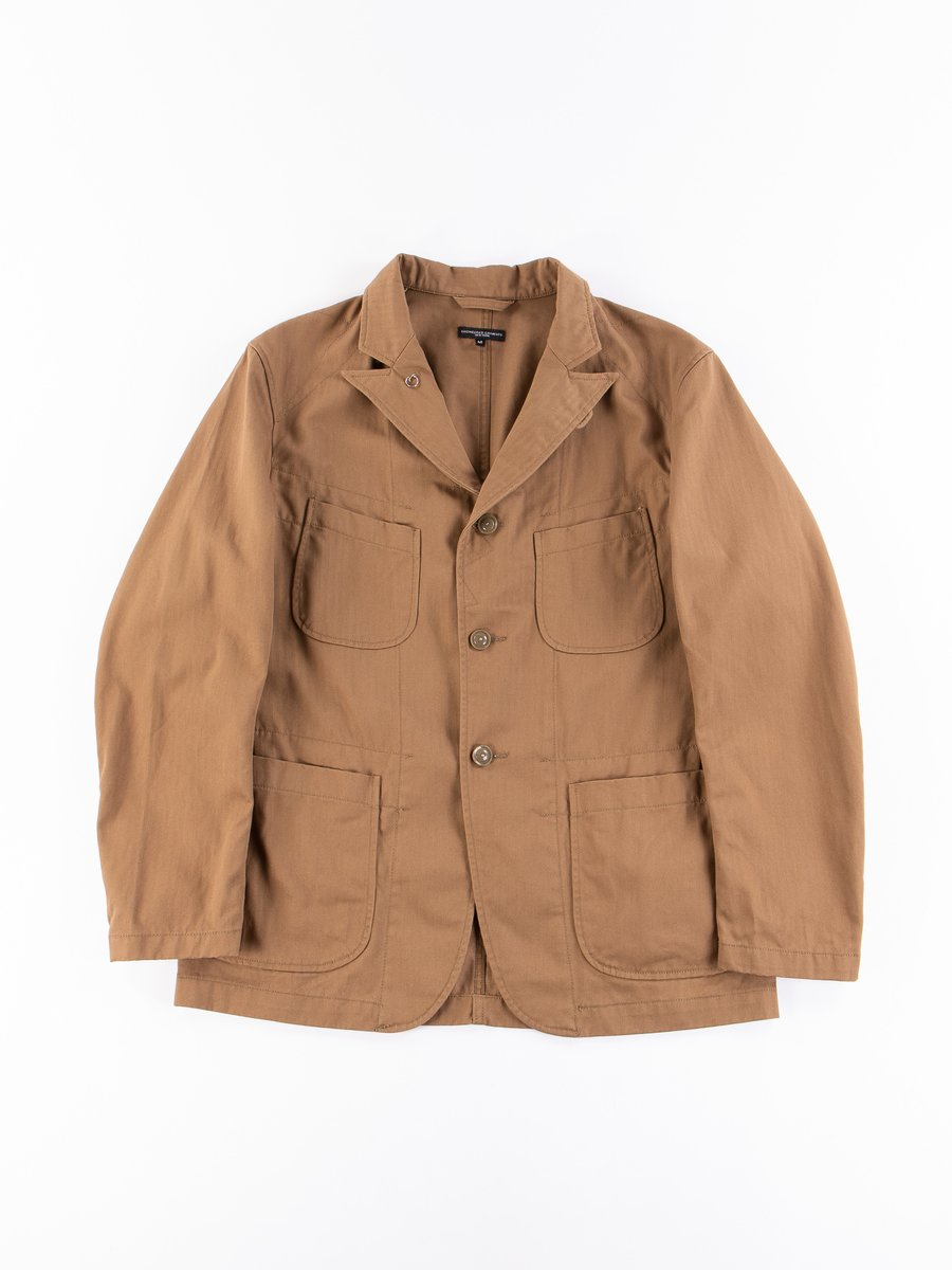 Brown Cotton Herringbone Twill Bedford Jacket