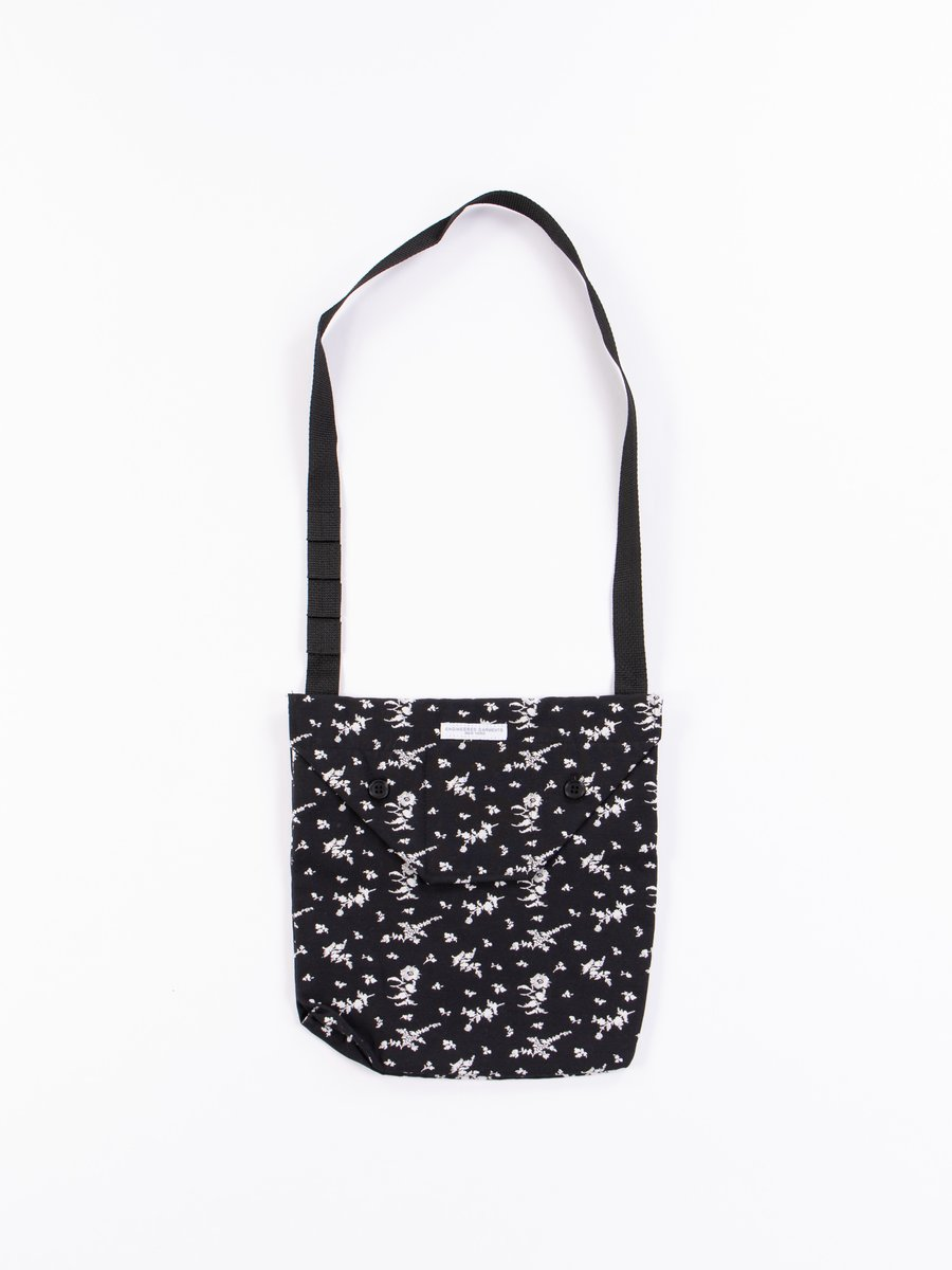 Black/White Floral Jacquard Shoulder Pouch
