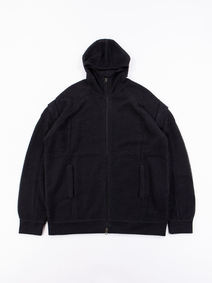 J77–AM Cashllama Silk Mesh Hooded Jacket