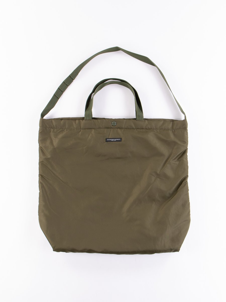 Olive Flight Satin Nylon Carry All Tote