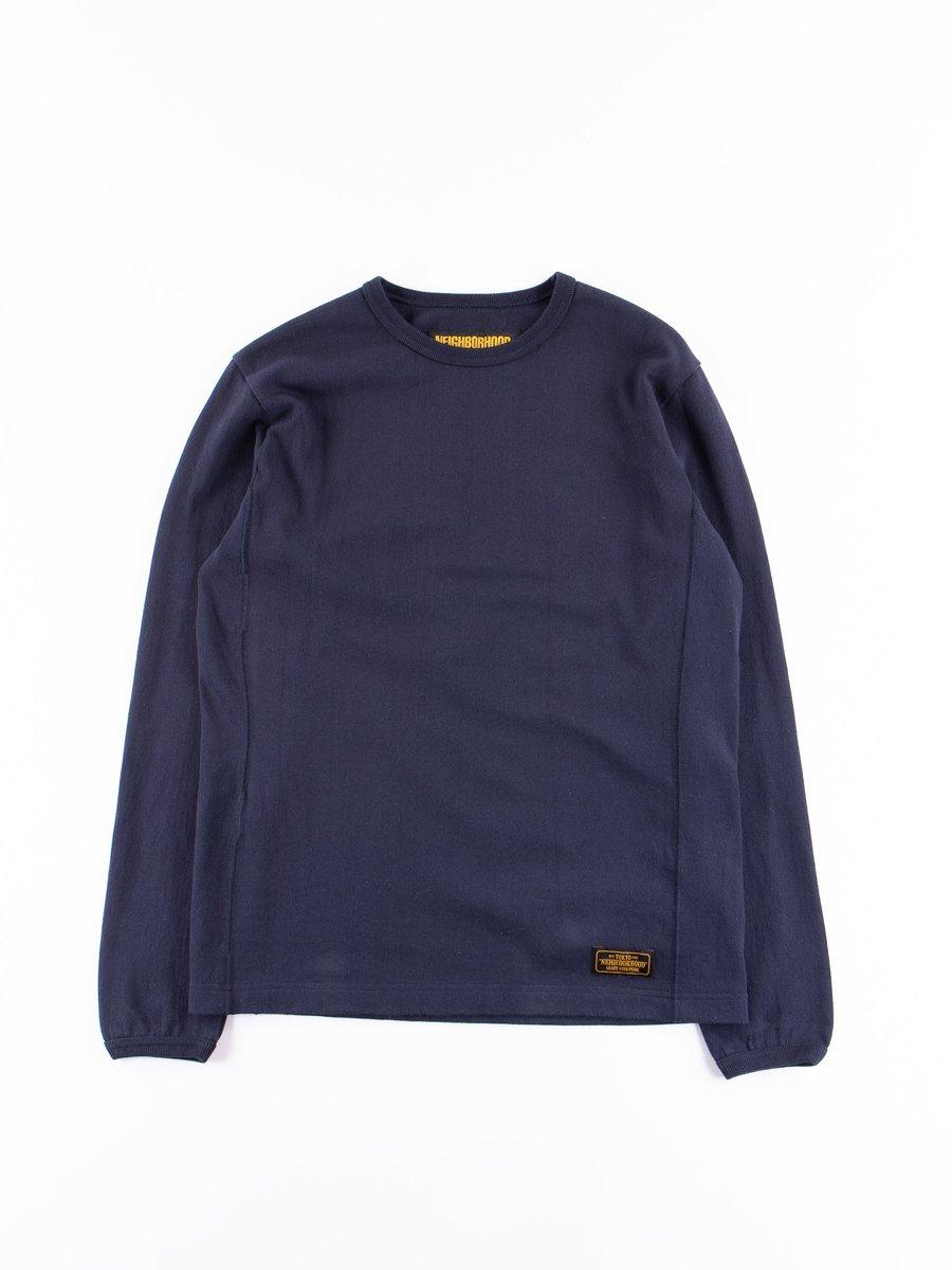 Navy Meek Long Sleeve C–Crew Shirt