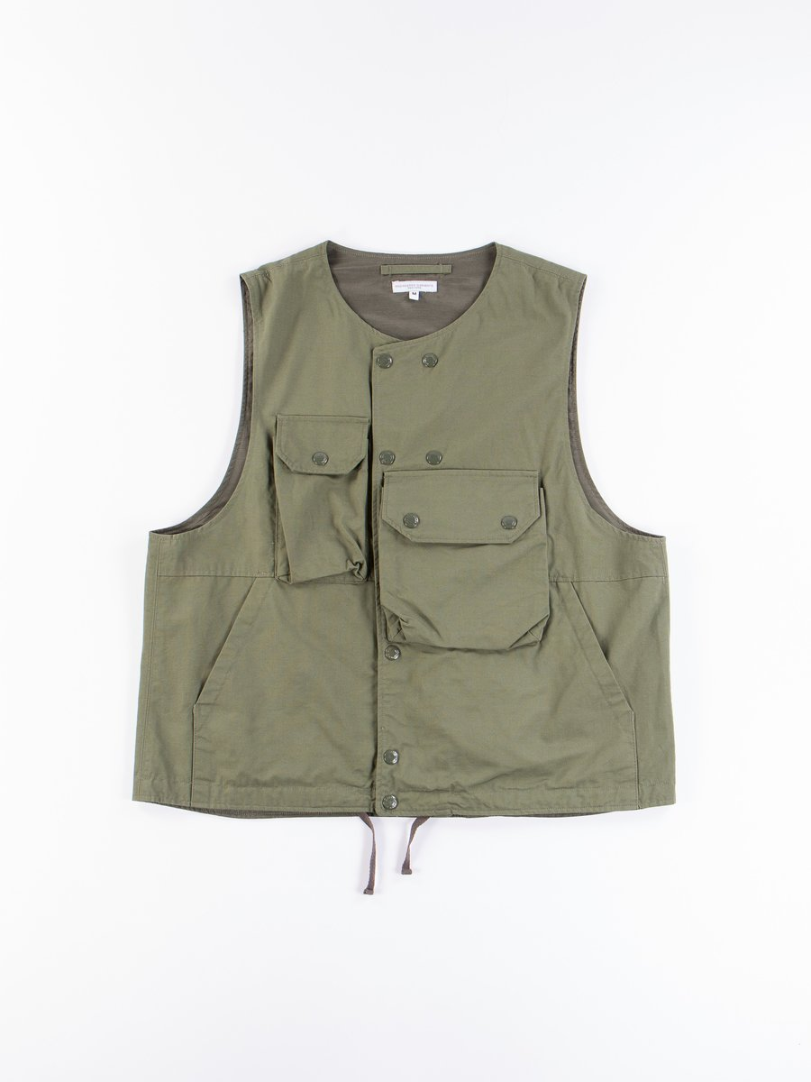 Olive Cotton Ripstop Cover Vest