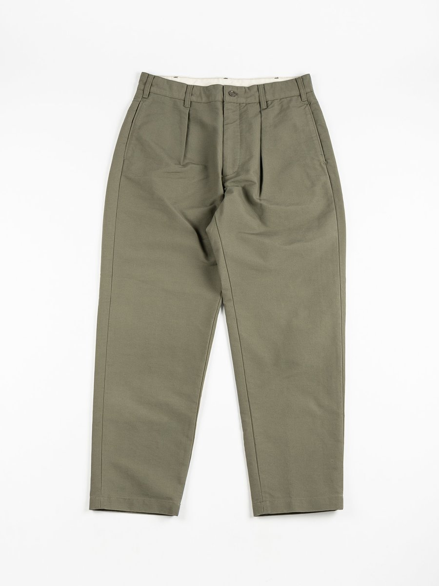 CARLYLE PANT OLIVE COTTON DOUBLE CLOTH