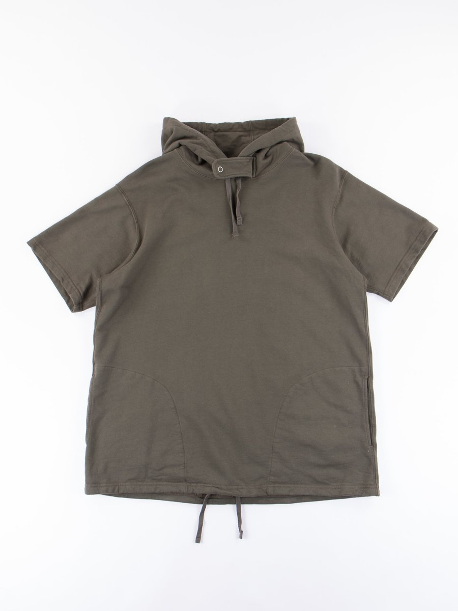 Olive French Terry Short Sleeve Hoody