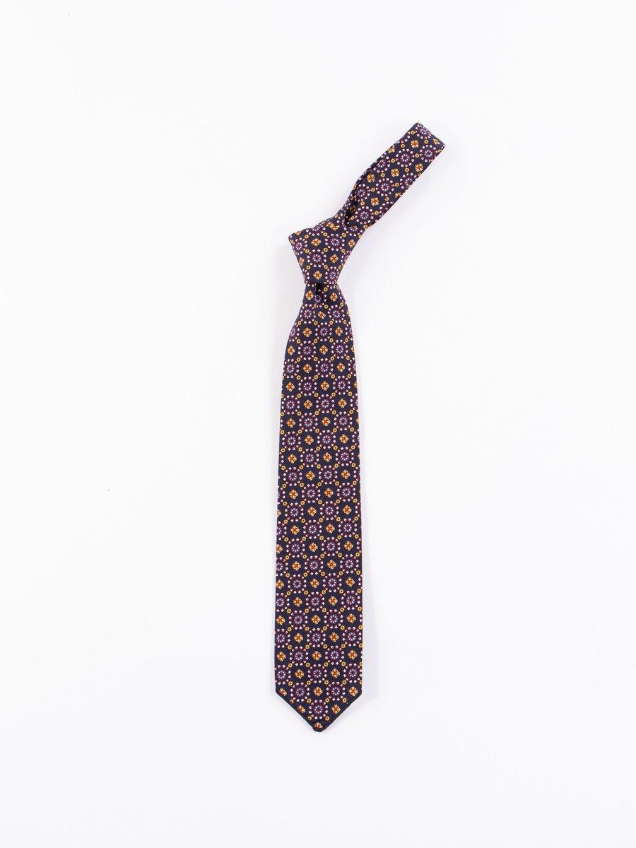 Navy Floral Foulard Print Neck Tie