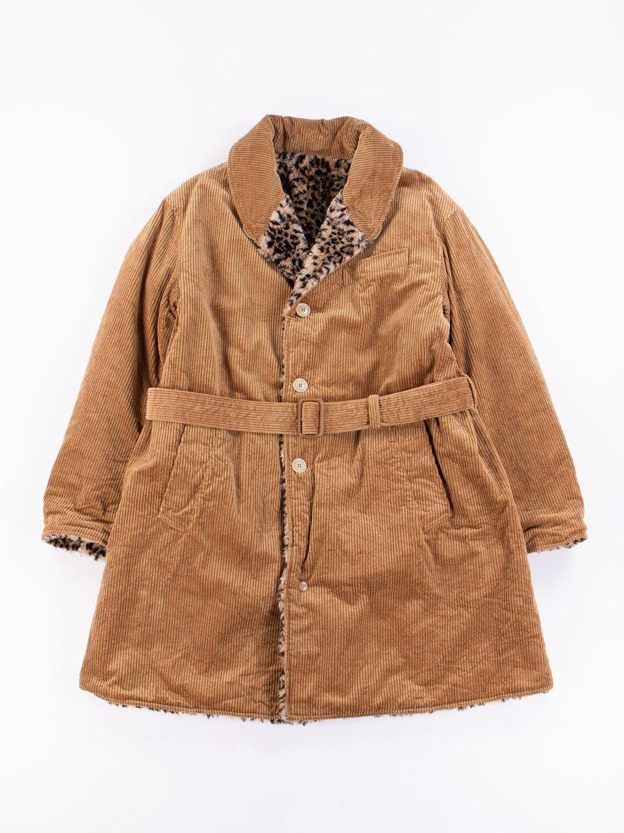 Khaki Cotton 6W Corduroy Shawl Collar Reversible Coat
