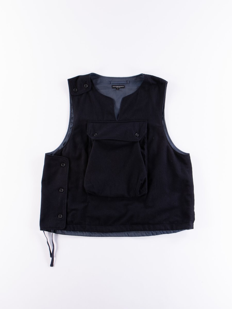 Dark Navy Wool Cotton Flannel Cover Vest