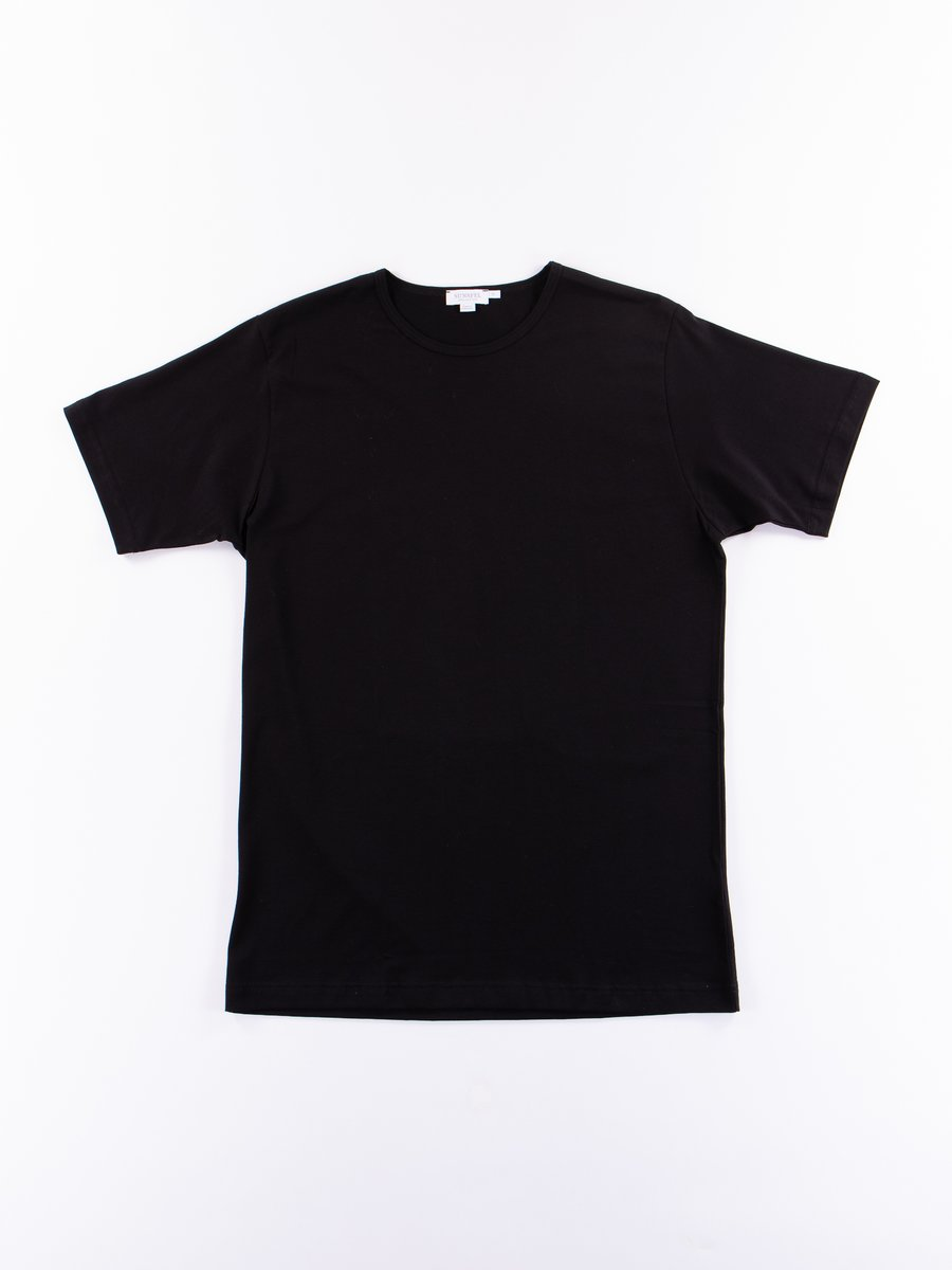 Black Superfine Cotton Crew Neck T–Shirt