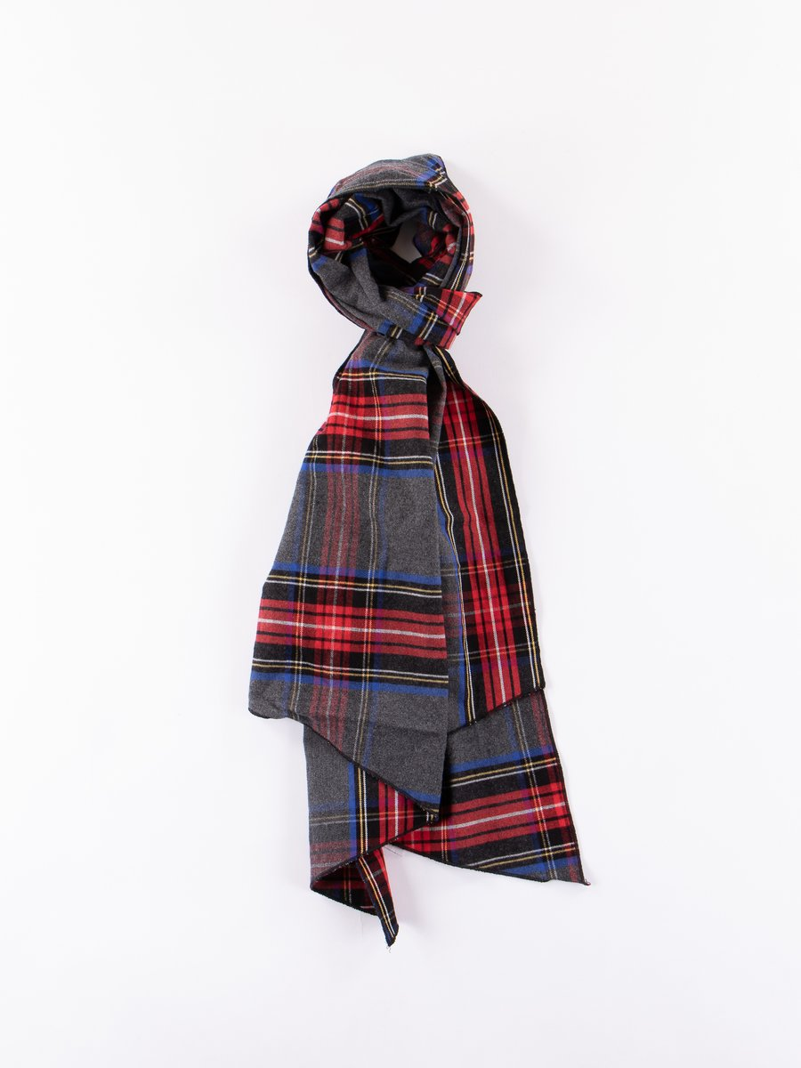 Grey/Red Brushed Plaid Long Scarf