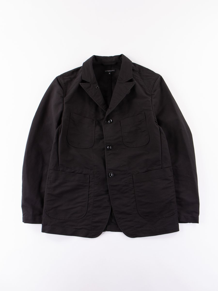 Black Cotton Double Cloth Bedford Jacket