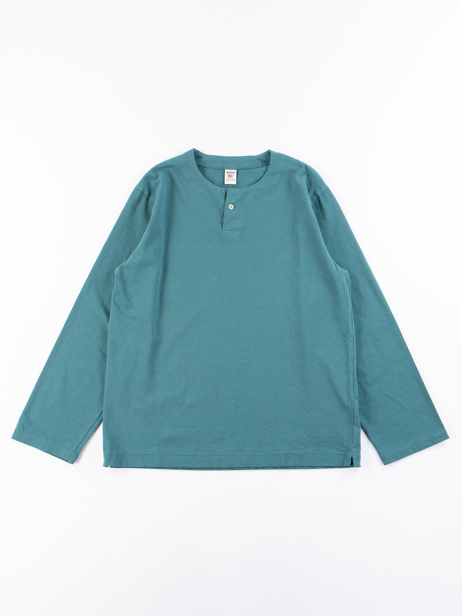 Aqua Henley Long Sleeve T–Shirt
