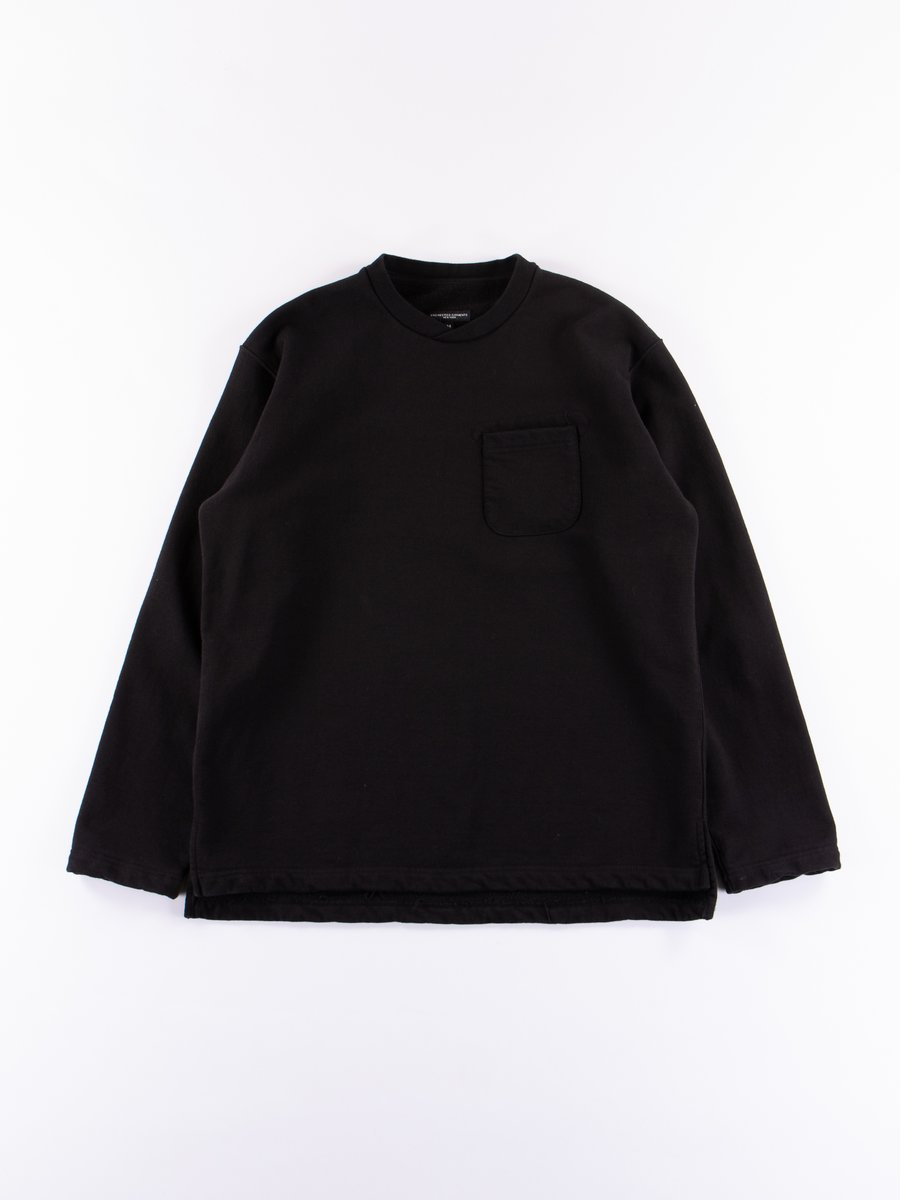 Black 20oz French Terry Long Sleeve Crew Neck