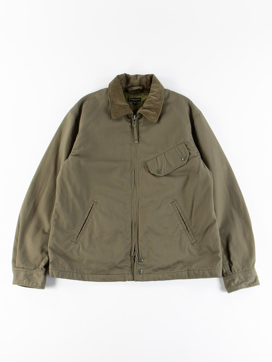 Olive Cotton Herringbone Twill Driver Jacket