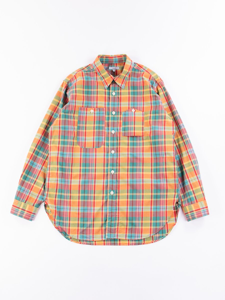 Orange Plaid Cotton Broadcloth Work Shirt