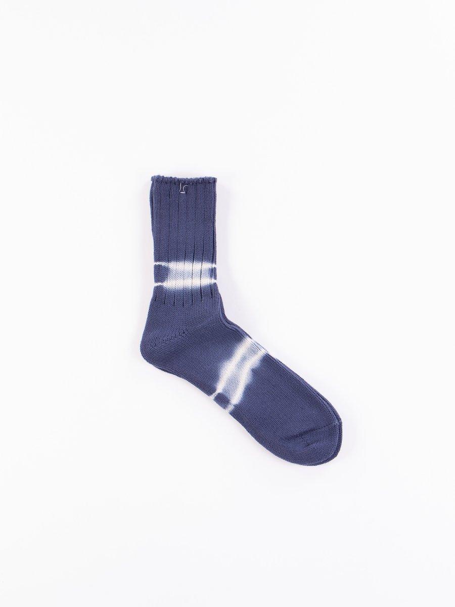 Indigo Shibori Dye Crew Socks