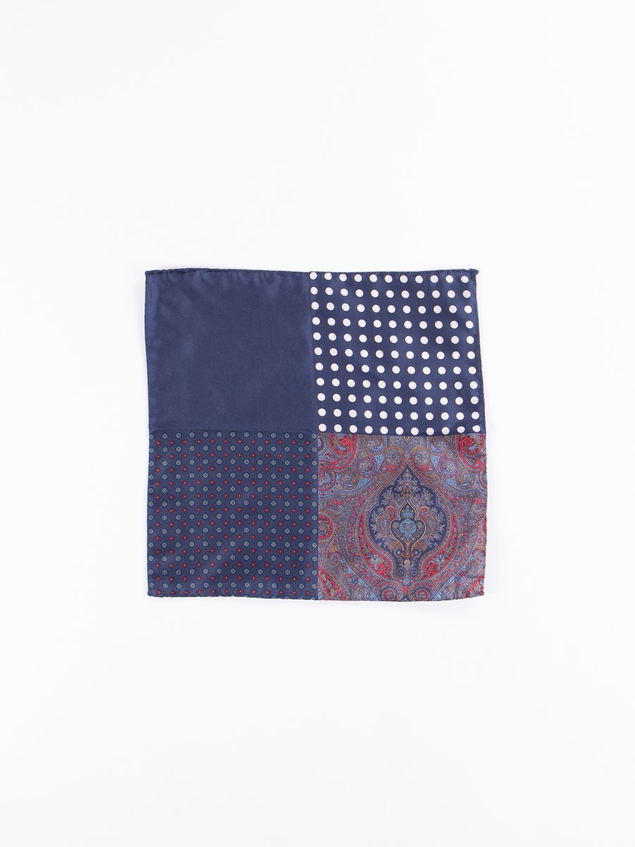 Navy Four Patterns Pocket Square