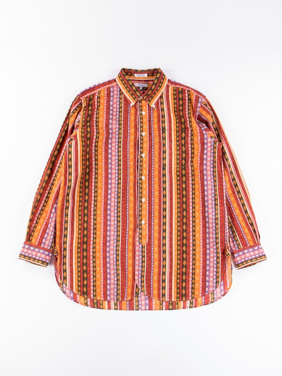 Orange Cotton Lawn Batik Stripe 19th Century BD Shirt
