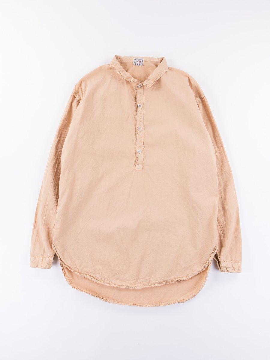 Fawn Logwood Dye Long Sleeve Pullover Split Tail Shirt