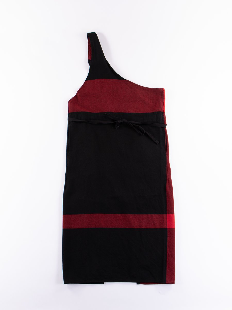 Black/Red Big Plaid Worsted Wool Flannel Butcher's Apron