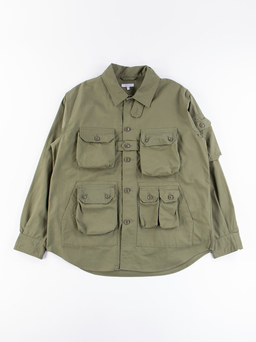 Olive Cotton Ripstop Explorer Shirt Jacket