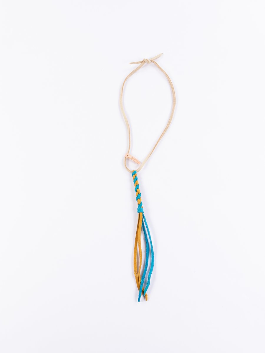 Turquoise/Gold Braided Leather Necklace