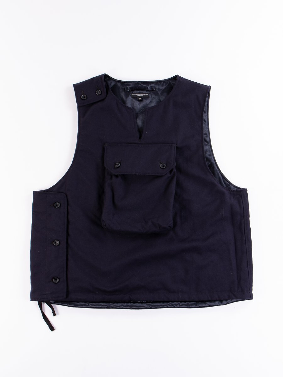 Dark Navy Wool Uniform Serge Cover Vest