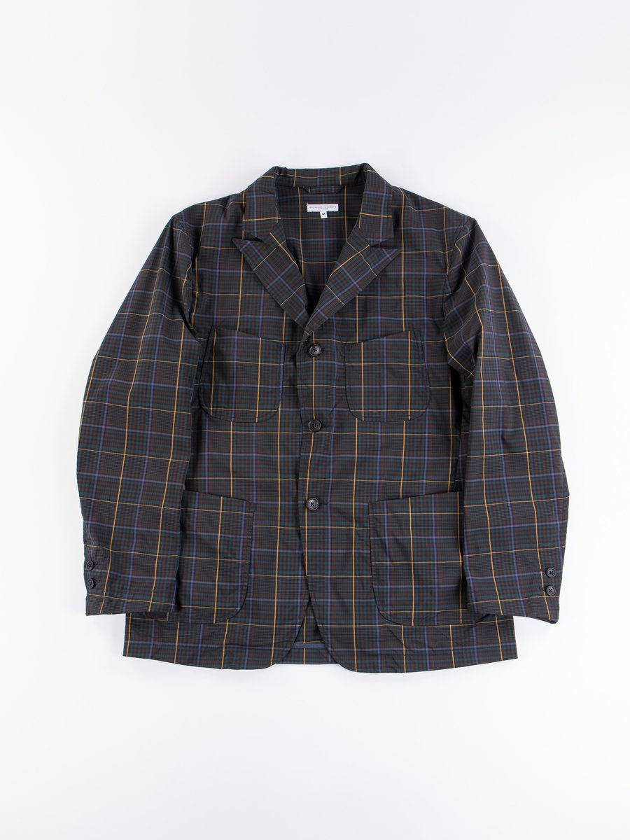 Dark Brown Polyester Rayon Glen Plaid NB Jacket