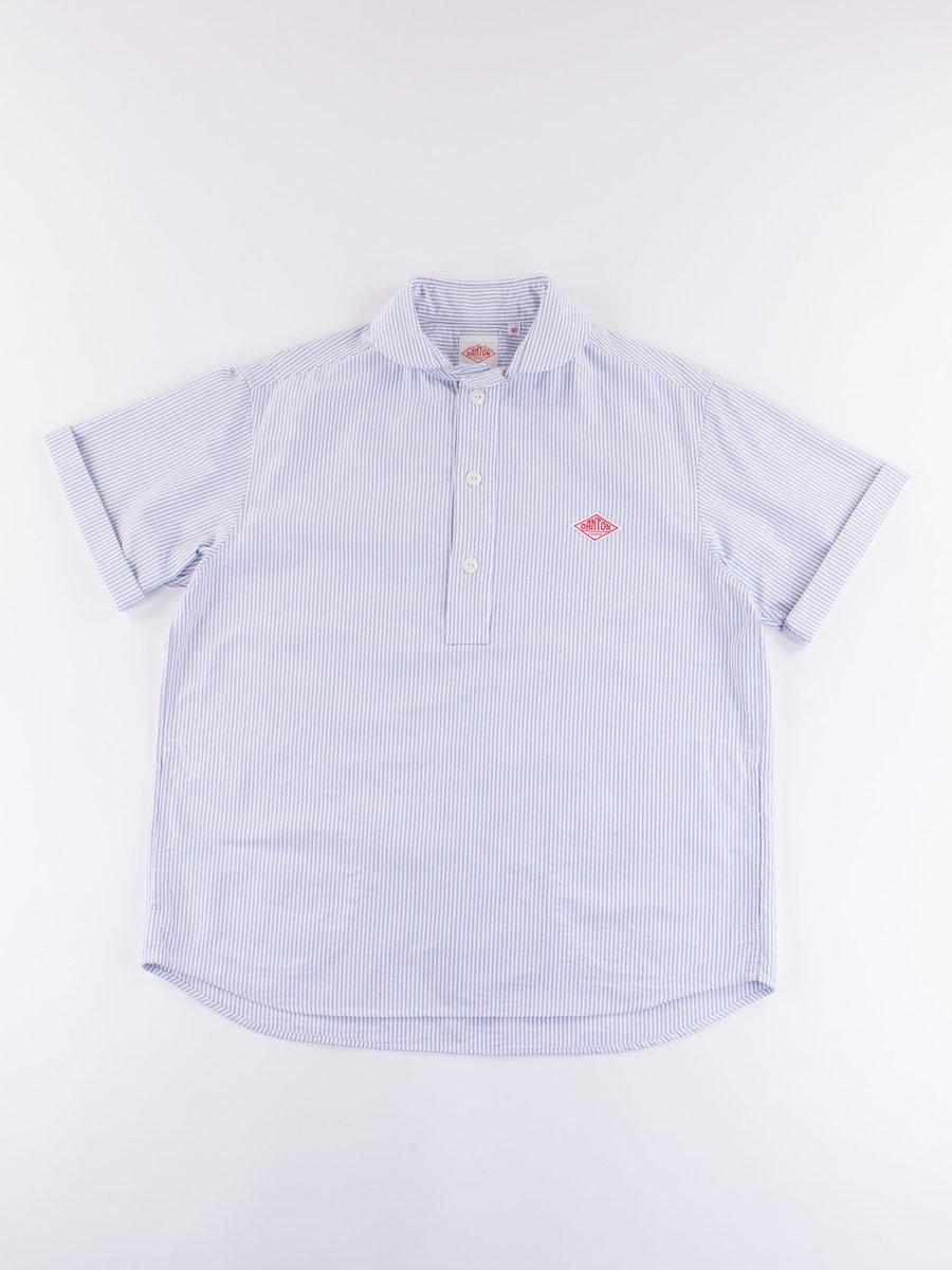 Navy Stripe Oxford Shawl Collar Short Sleeve Shirt