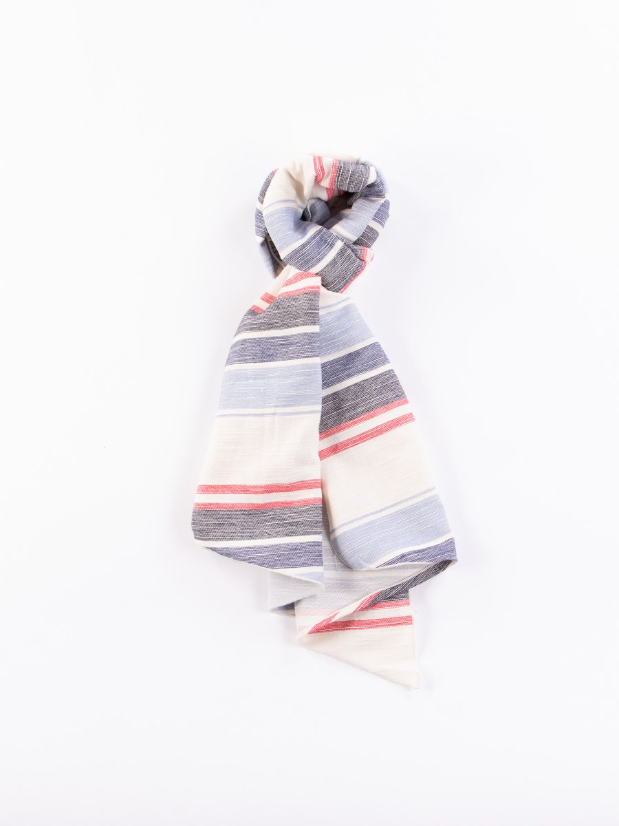 Natural/Red/Blue Horizontal Slab Long Scarf