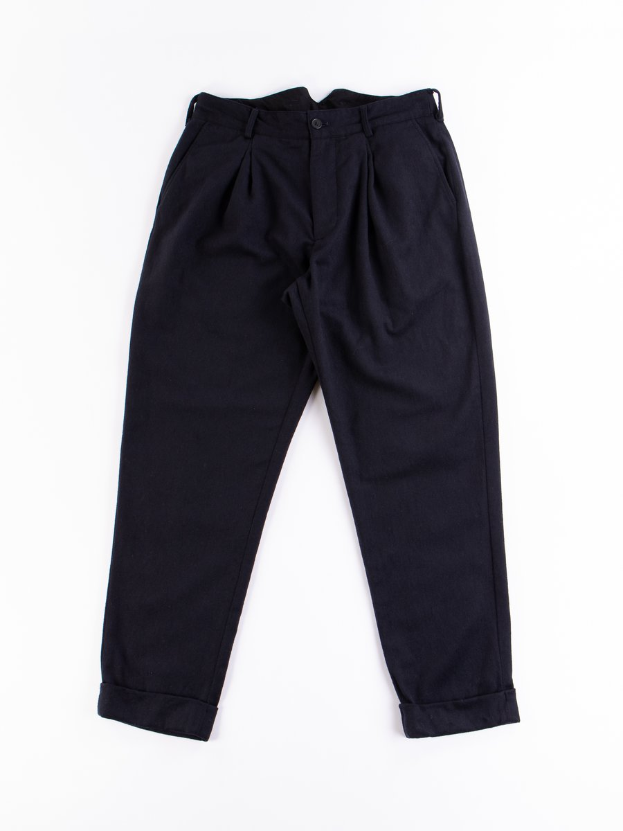 Dark Navy Wool Cotton Flannel WP Pant