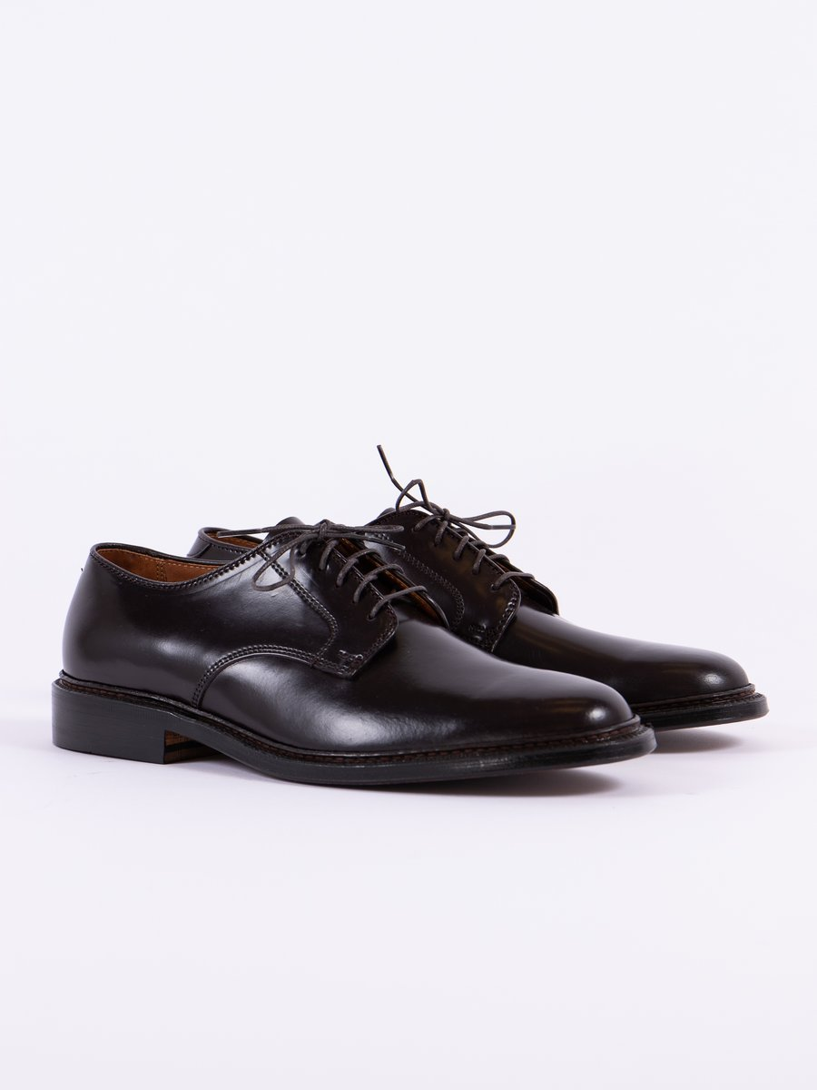 Color 8 Cordovan Plain Toe Blucher with Leather Sole