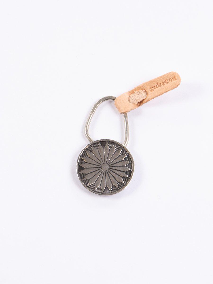 Nickel Silver 20 Petal Flower Concho Keychain